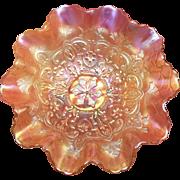 Dugan & Diamond 1911 Vintage 10 inch Ruffled Edge Bowl - Marigold Carnival Glass -Garden .