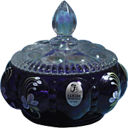 REDUCED Fenton Colonial Scroll on Royal Purple Round Trinket Box Limited Edition - Nancy Fento