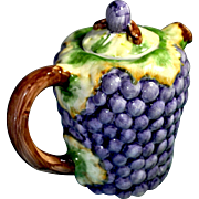 REDUCED Majolica Grape and Grape Vine Pitcher with Lid (Discounted Shipping)