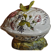 "REDUCED Majolica ""very unique two piece Cover Detailed HP Egg ""Free Shipping"""