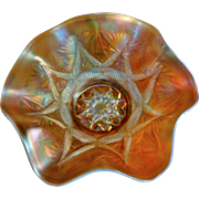 SALE Dugan Vintage Peach Opalescent 10.5 inch Diameter Ruffled Bowl - Compass Exterior