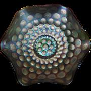 Fenton Christmas Vintage 8 1/2 inch 6 Ruffle Green Carnival bowl Coin Dot pattern