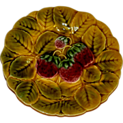 Vintage Majolica French Fruit Sarreguemines 7 1/2 inch Plate - Free Shipping