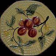 "REDUCED German Majolica (1900 - 1940) 7 .5 inch Octagonal Raised Cherries Plate ""Free Shi"