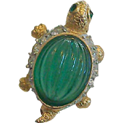 Rhinestone Turtle Brooch