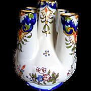 Antique Rouen Fourmaintraux Faience Finger Bud Vase