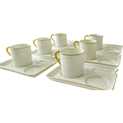 Vintage Fine Bone China Capuccino/Coffee/Desert/Pastry Set for 6
