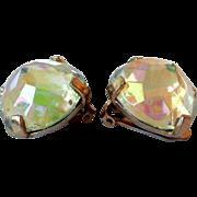 Vintage Zentall Faceted Crystal Earrings