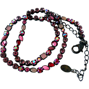 Vintage Sorrelli Single Strand Crystal Necklace, Reds and Pinks