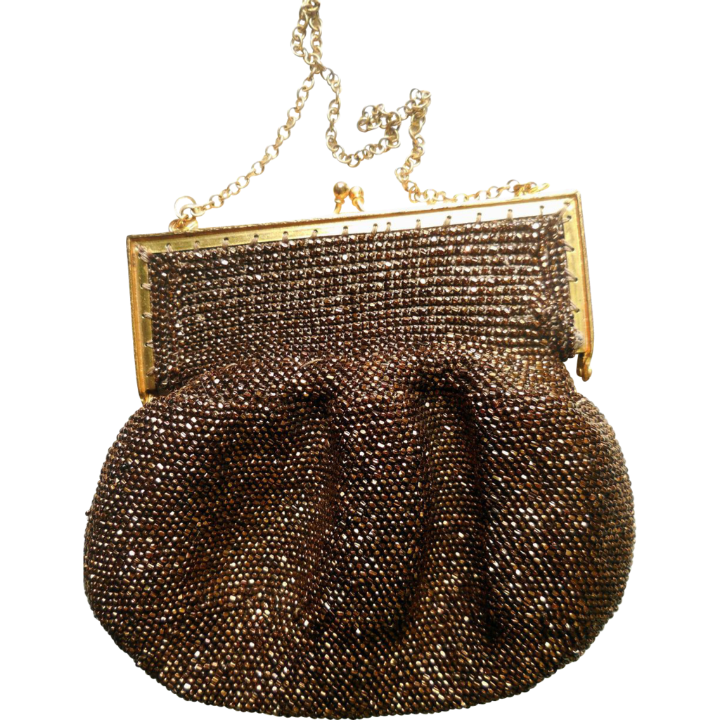 vintage s copper beaded purse 1940s