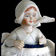 "Vintage Bisque ""Little Dutch Girl"" Pincushion Doll"
