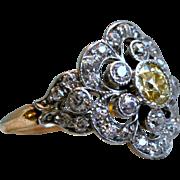 Gorgeous Antique 18K Yellow Gold/ Platinum Diamond Ring - 2.45cttw.