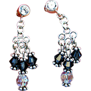 Montana Sapphire and Crystal Swarovski Crystal Chandelier Earrings