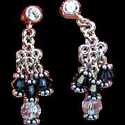 Montana Sapphire and Crystal Swarovski Crystal Chandelier Earrings