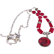 Dyed Red Jade Beads and Red Abalone Pendant Necklace