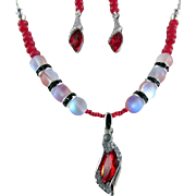 SOLD Red Austrian Crystal Horse Eye Pendant and Red Moonlight Crystal Bead Necklace and Earrin