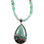 Green Aventurine Pendant and Round Aventurine Bead Necklace and Earrings