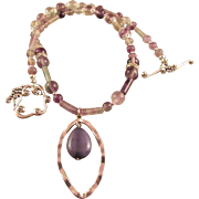 REDUCED Multi-Fluorite Gemstones and Purple Pendant Necklace