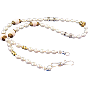 Cultured Freshwater Rice Pearl and Vintage Bead Necklace and Earrings