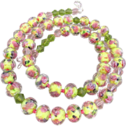 A Yellow with Pink Flowers Faceted Glass Rondelles Necklace and Earrings