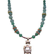 A Rhinestone Encrusted Kitty Kat Pendant and Green Aventurine Gemstone Necklace and Earrings