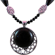 Onyx Cabochon Pendant and Onyx Gemstones Necklace and Earrings