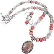 Rhodochrosite Cabochon Pendant, Pink Glass and Matte Agate Necklace and Earrings