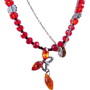 Red-Orange Crystal Butterfly and Crystal Rondelle Double Necklace and Earrings