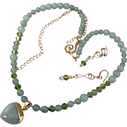 A Green Aventurine Heart Pendant and Beads Necklace and Earrings