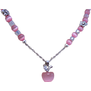 A Pink Fiber-optic Apple Pendant and Beads Necklace and Earrings