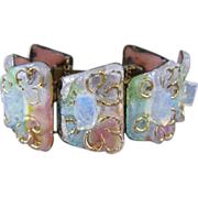Handmade, Artist Signed Limoges Bracelet, Resin Set in Copper