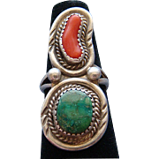 Vintage Sterling Silver Red Coral and Green Turquoise Native American Navajo Ring