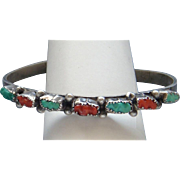 Vintage Native American Navajo Indian Sterling Silver Carved Coral Turquoise Ladies  Cuff ...