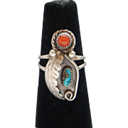 Vintage Native American Indian Signed Navajo Coral Turquoise Sterling Silver Ladies Ring
