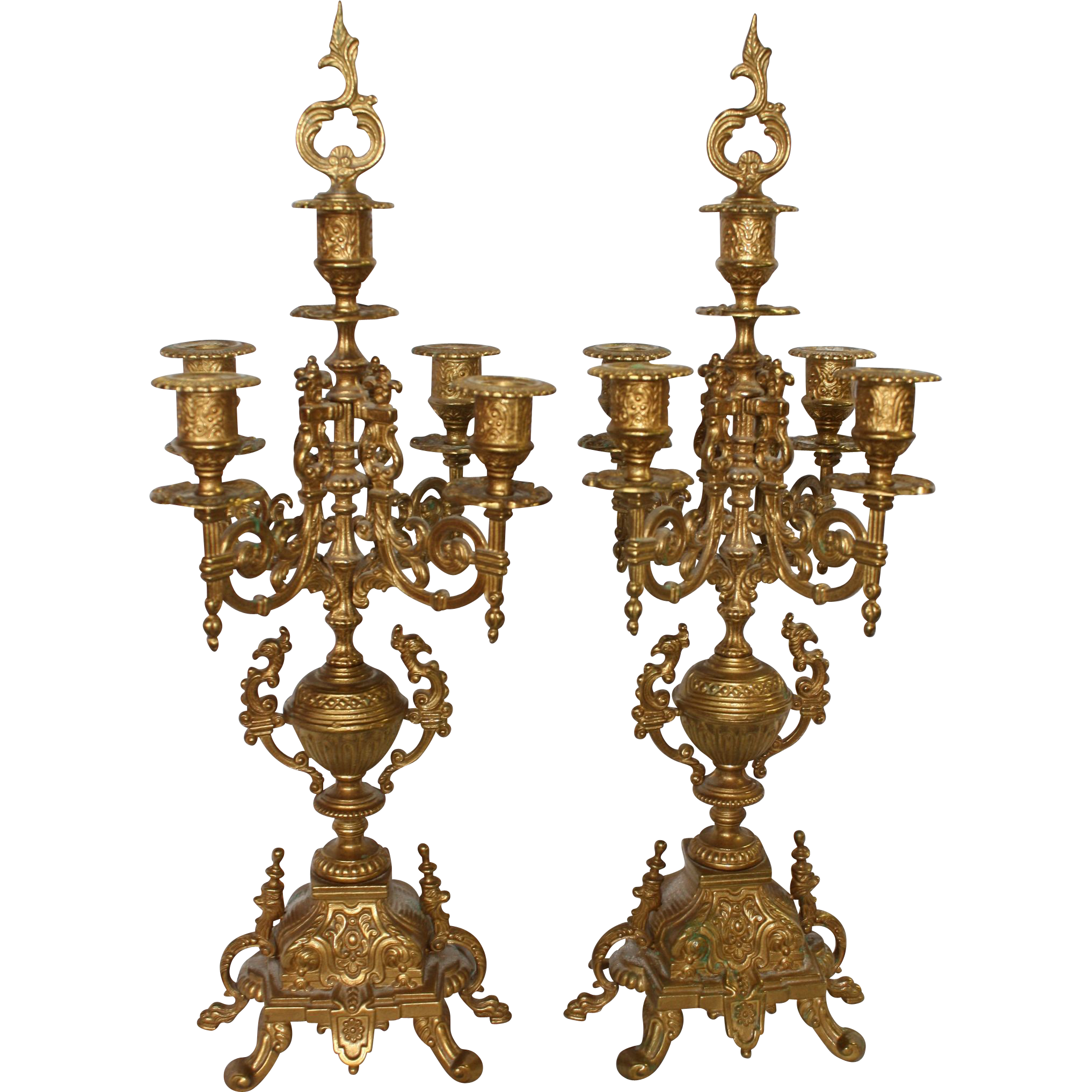 Ornate Victorian Brass Candelabras Pair Ca 1900 From Rubylane Sold On Ruby Lane