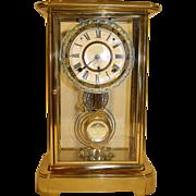 Antique Brass Ansonia Clock with Cut Glass Pendulum