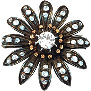 French Paste Flower Pin Sterling Silver