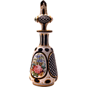 SOLD Bohemian Overlay Cut Glass Scent Bottle, White-Over-Blue, Floral Images,  c.1880
