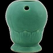 "Niloak 5"" x 4"" Art Deco Novelty Flower Frog/Vase In Matte Green Glazes Mint"