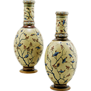 "Mettlach 10.75"" 'Mosaic' Pattern Vase Pair #1356 Dated 1883 Beautiful Gilt Accents"
