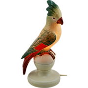 "Fulper Porcelain 12.5"" Cockatoo Perfume Lamp #311 In Green/Scarlet/Yellow Glazes"