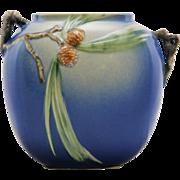 "Roseville Pinecone 8.5"" Broad Pillow Vase In Cobalt Blue W/Branch Handles 114-8"