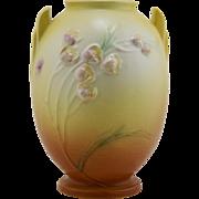 """Roseville Ixia 7.25"""" Art Deco Vase #855-7 In Yellow/Amber Cinnamon Glazes"""