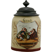 "Mettlach 5.5"" Crested Tapestry Stein ""Geruch-One Man Smoking"" 1/2L #1431 Mint"