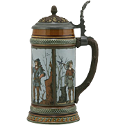 "Mettlach 8.75"" Etched Stein 1890s ""Hunters"" In Ornate Panels 1/2 Liter #1695 Mi"