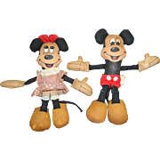 Vintage Mickey and Minnie Mouse Walt Disney Dolls