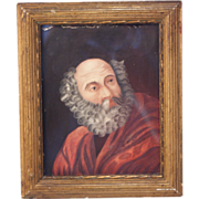 SOLD Antique 1823 Russian miniature portrait painting of St Peter