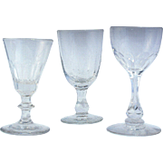 SOLD Collection of three Antique Georgian & Victorian EWnglish Wine glasses