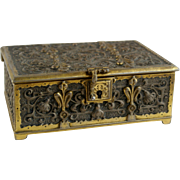 SOLD Antique fine quality Bronze & brass high relief decorated box marked to base