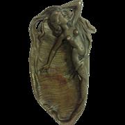 SOLD Small Bronze Art Nouveau Mermaid Pin / Ash Tray